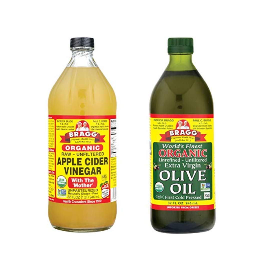 Bragg Organic Apple Cider Vinegar With the Mother 32oz and Organic Extra Virgin Olive Oil 32oz Bundle