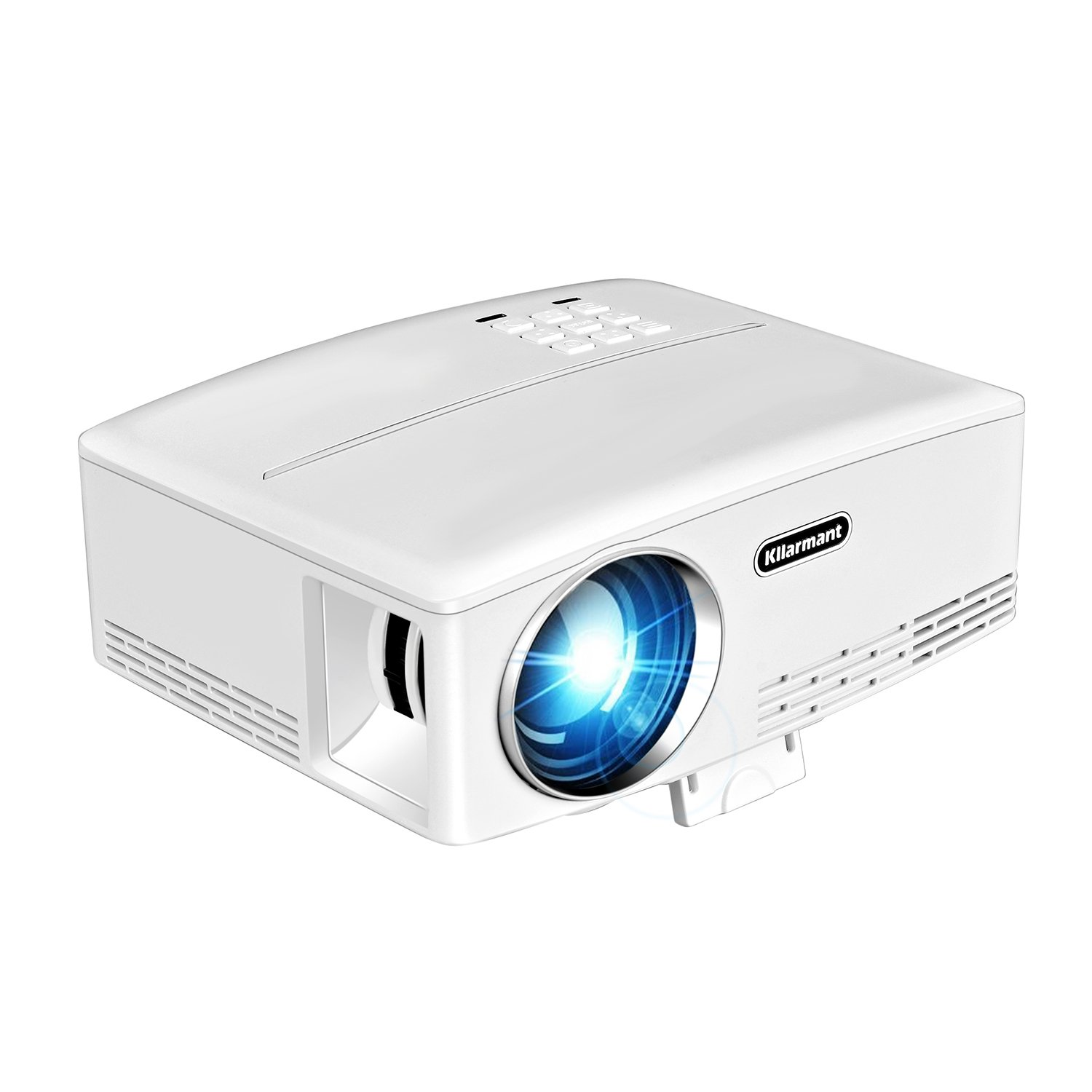 Projector, Kllarmant Full HD 1080P Built-In Speakers Mini Home Projector, VGA USB HDMI Support Smart Phone, Tablets, Laptops and HD Games.