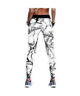 VPASS Mujer Pantalones,Elásticos Impresión Pantalones de Yoga Mujer Fitness Mallas Gym Yoga Slim Fit Pantalones Largos Pantalones Leggings Cintura Alta Deportivos Running Aptitud Jogging Pantalon