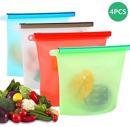 Bolsas de Silicona Reutilizables 4 PCS, Usetcc Bolsas de Comida ...