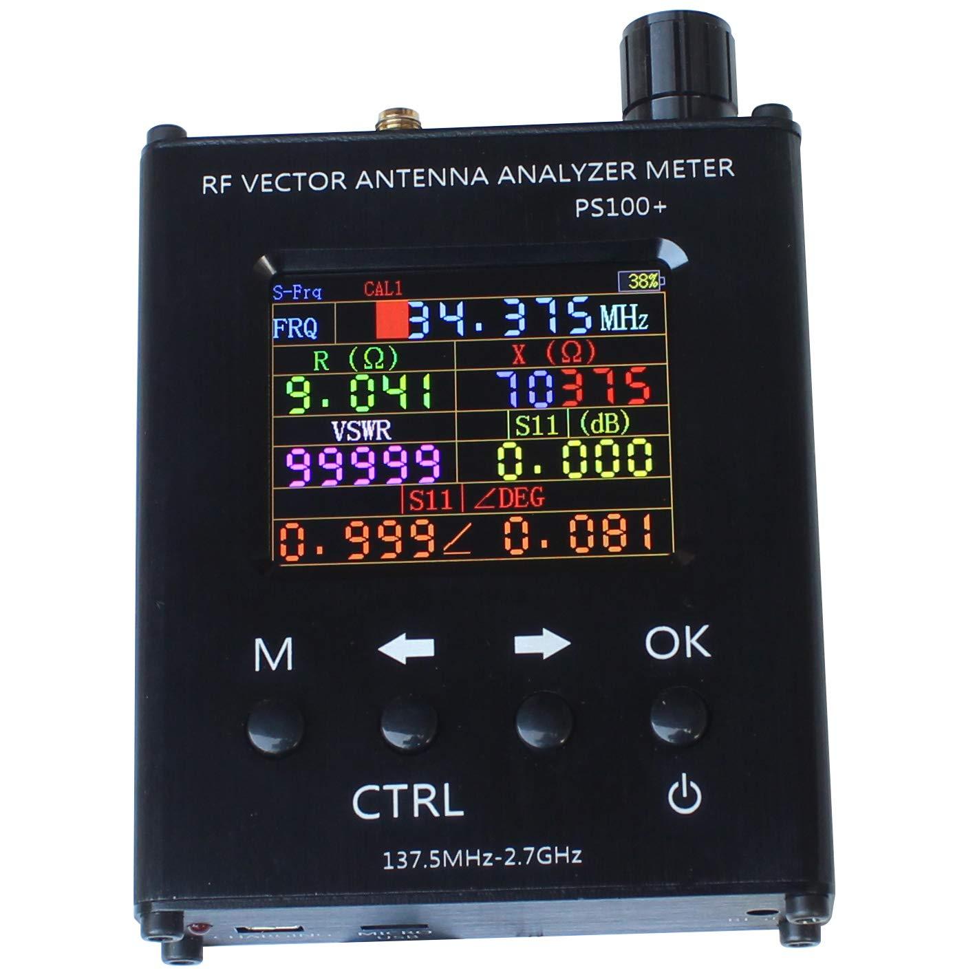 PS100+ - Analizador de antena RF Vector Impedancia ANT SWR (34,375 MHz-2,7 GHz, resistencia, reacción, impedancia VSWR N1201SA + Plus)