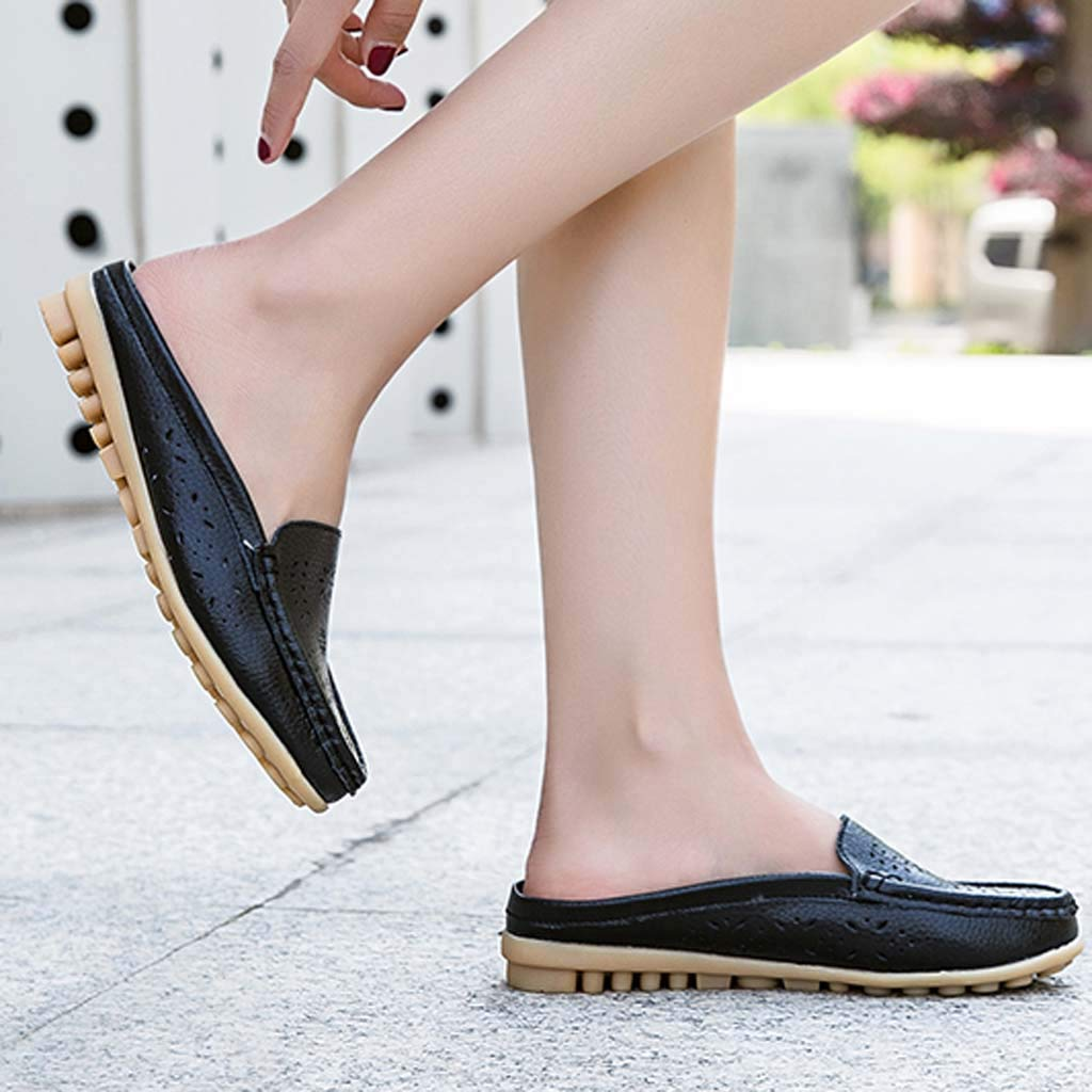 ✔ Hypothesis_X ☎ Womens Retro Backless Slip On Loafer Flats Pointed Toe Mules Low Heel Dress Slipper Shoes Black by ✔ Hypothesis_X ☎ Shoes (Image #4)