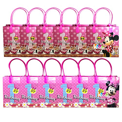 12pc Disney Minnie Mouse 1st Birthday Party Loot Bags Birthday Goody Fun Gift -