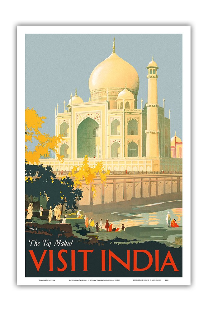 Pacifica Island Art Visit India - Taj Mahal - Agra, India - Vintage World Travel Poster by William Spencer Bagdatopulos c.1930 - Master Art Print - 12in x 18in