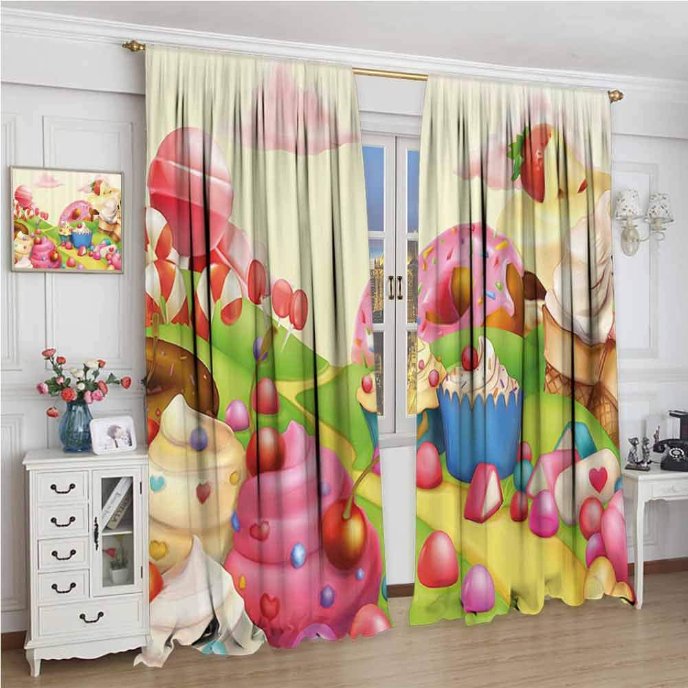 GUUVOR Pink Decor All Season Insulation Food Theme Sweet Landscape of Candies Cupcakes Lollipop and Ice Cream Print Noise Reduction Curtain Panel Living Room W84 x L108 Inch Multicolor by GUUVOR