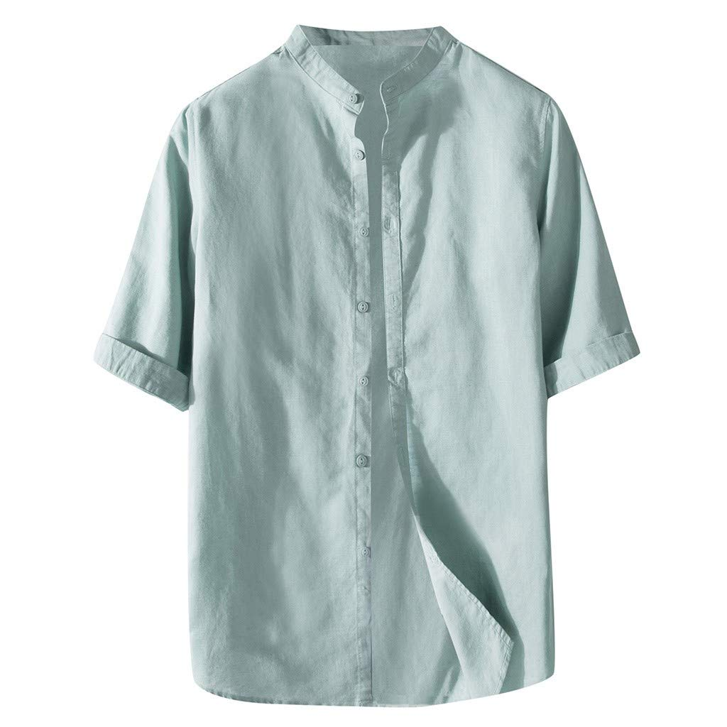 Men Button Down T-shirts New Cotton Linen Half Sleeve Solid Color Loose Casual Blouse Lightweight Tops Tee (Medium, Green)