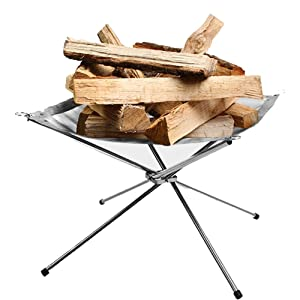 Rootless Portable Outdoor Fire Pit : Collapsing Steel Mesh Fireplace - Perfect for Camping, Backyard and Garden - Carrying Bag Included (Medium)