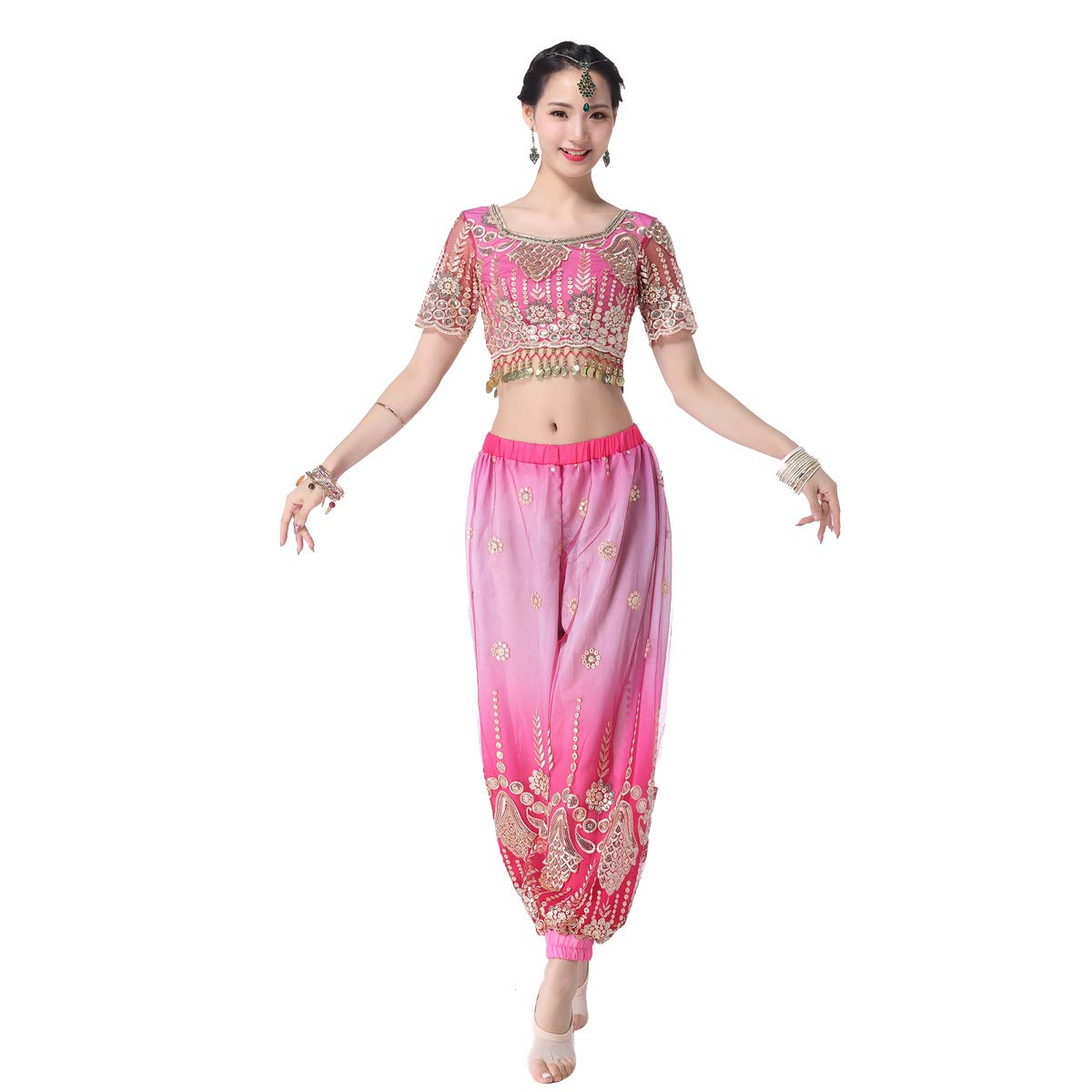 Belly Dance Bollywood Costume Aladdin Costumes Harem Pants for Women(F,M) Pink by MISI CHAO