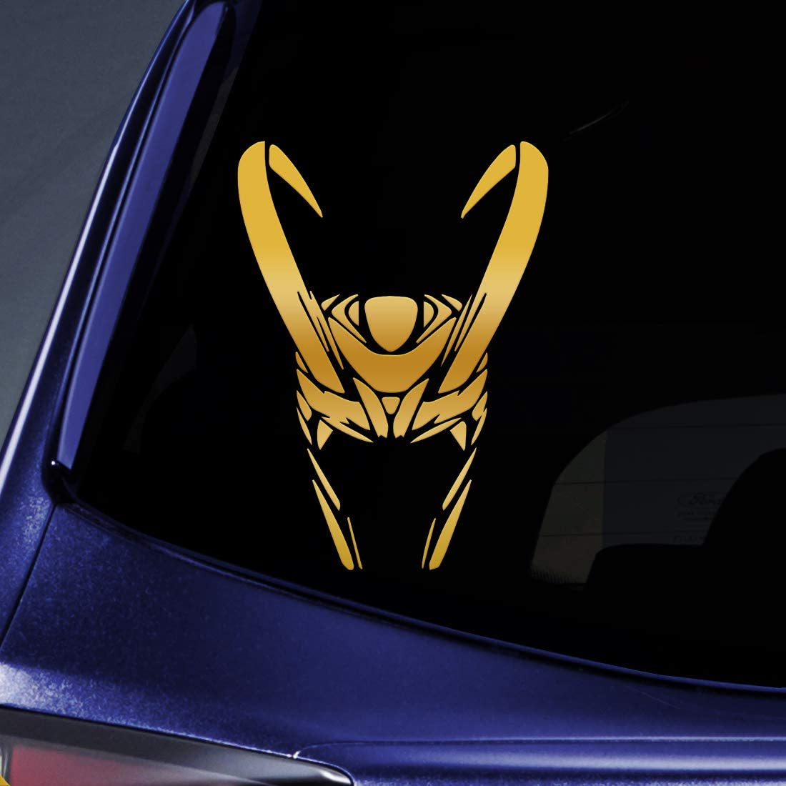 "Bargain Max Decals - Loki Helmet - Sticker Decal Notebook Car Laptop 6"" (Gold)"