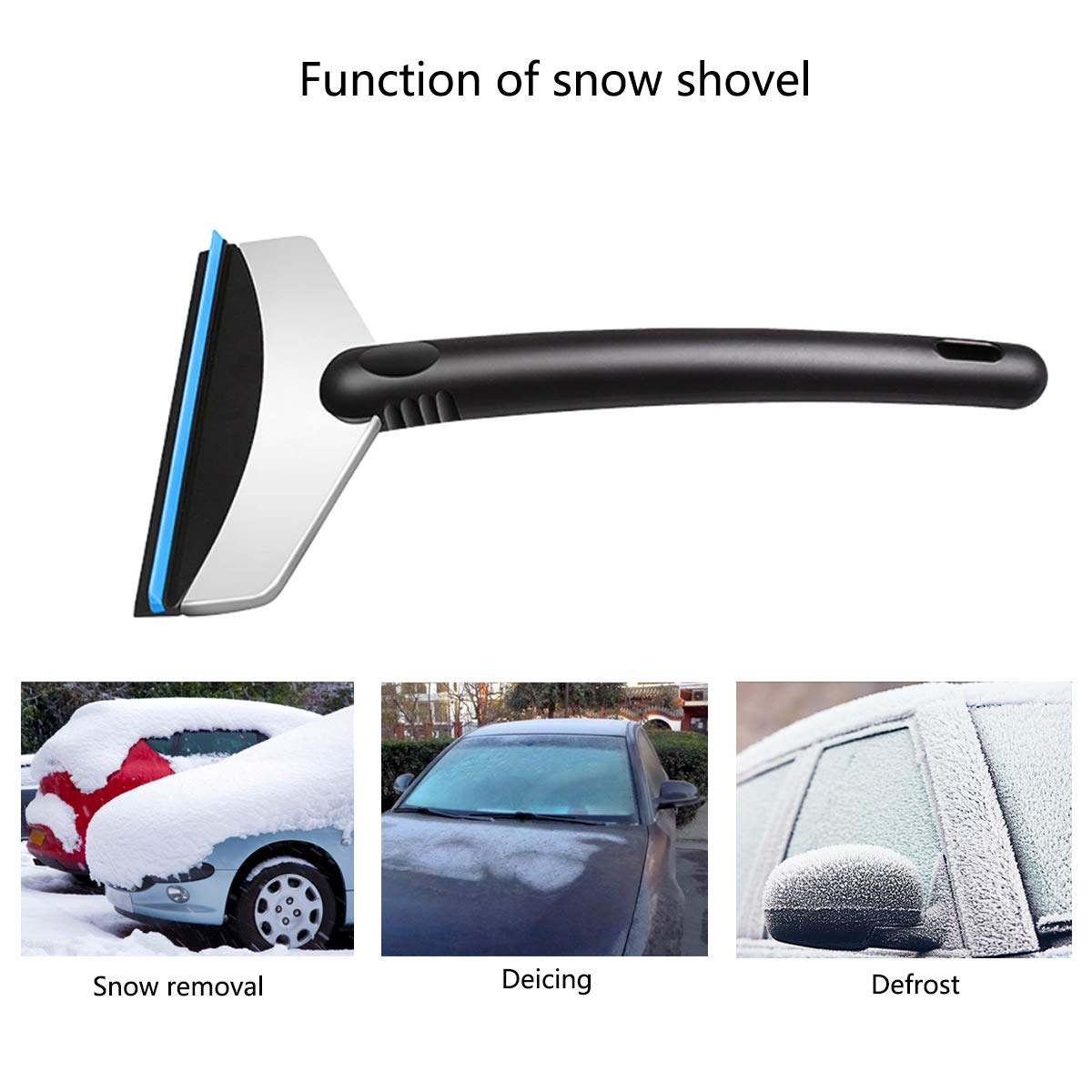 Silver black cjixnji Car Ice Shovel,Stainless Steel Car Snow Shovel Ice Scraper Frost and Windscreens Deicing Scraper Wiper Winter Home Using Snow Remover Cleaning Tool for Car SUV Truck