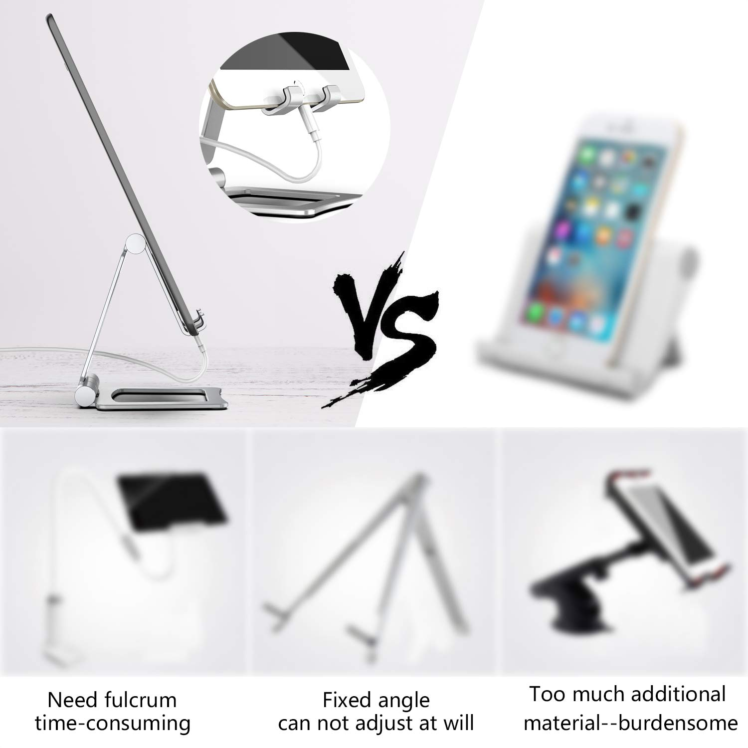 Lululeague Universal Tablet Stands iPad holder Stand for iPhone, Phone, iPad Pro, iPad mini, Nintendo Switch, kindle (Silver)