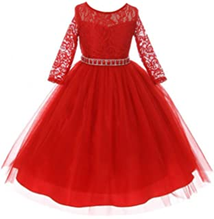 f24c00d1031d Girls Dress Lace Top Rhinestones Tulle Holiday Christmas Party Flower Girl  Dress