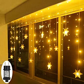 Led Fenster Weihnachtsbeleuchtung.Led Lichterkette Schneeflocke Fenster Weihnachtsbeleuchtung Innen Warmweiß Für Weihnachten Geburtstag Party Hochzeit 94er Leds Lichtervorhang