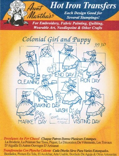 Colonial Girl & Puppy Aunt Martha's Hot Iron Embroidery -