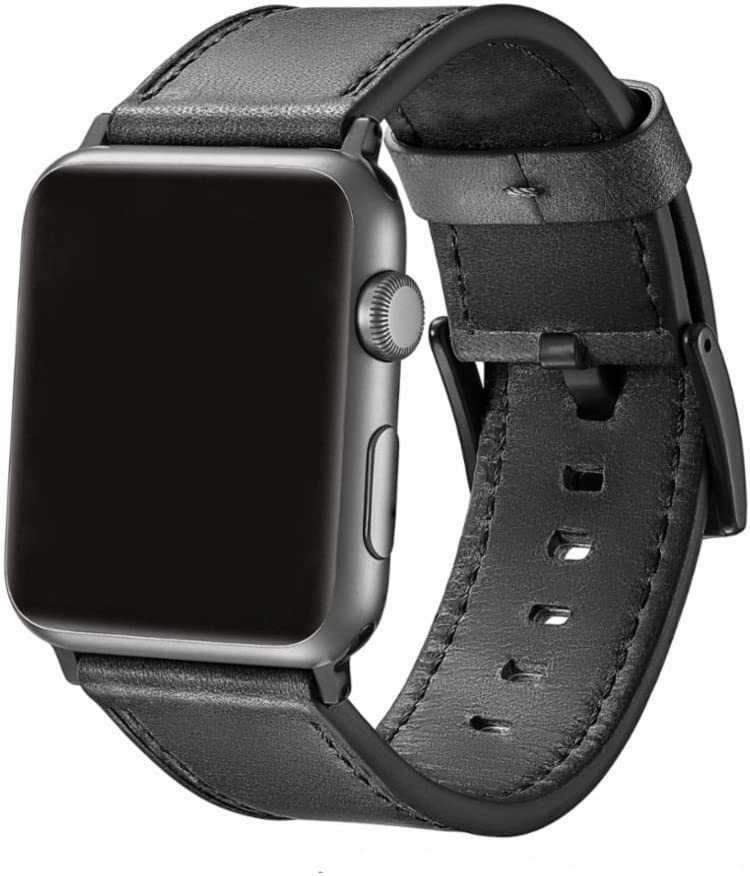 EAVAE Compatible with Apple Watch Band 44mm 42mm,Black Gray Leather iWatch Band for Apple Watch SE Apple Watch Series 6 Series 5 Series 4 Series 3 Series 2 Series 1 Men Women