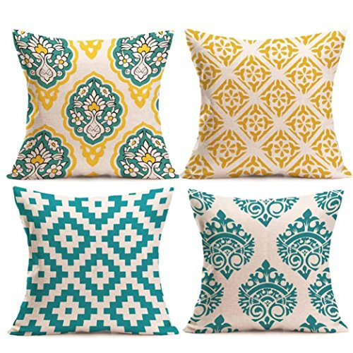Paymenow Clearance 4 Pieces Square Throw Pillow Cases Linen Sofa Cushion Cover Home Decor (18 x 18, C)