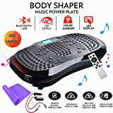 Cheap Reliancer Built-in Music Player Fitness Vibration Platform Whole Full Body Shaped Crazy Fit Plate Massage Workout Trainer Exercise Machine Plate w/Integrated USB Port&LED Light (W/Music-Black)