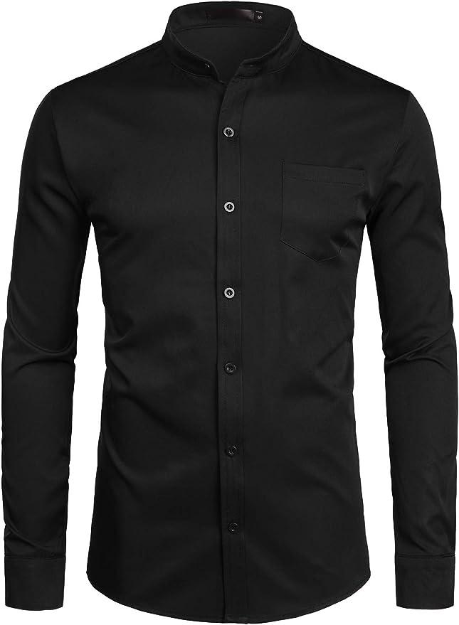 Collarless Casual Dress Shirt