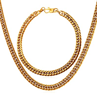 "18/""-26/"" Men/'s 6mm 18K Gold Plated Cuban Link Chain Necklace With /""18K/"" Stamp"