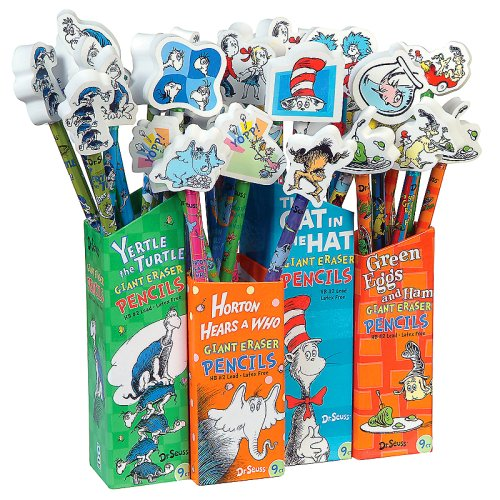 Dr Seuss Pencils with Giant Eraser Toppers, 36 Pieces