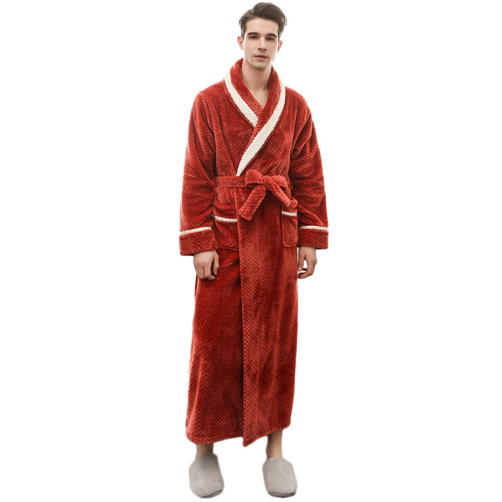 Clearance Sales Christmas Unisex Winter Plush Shawl Bathrobe Lengthened Thicken Kimono Robe Homewear Soft Sleepwear (Red, 3XL) by Hotcl