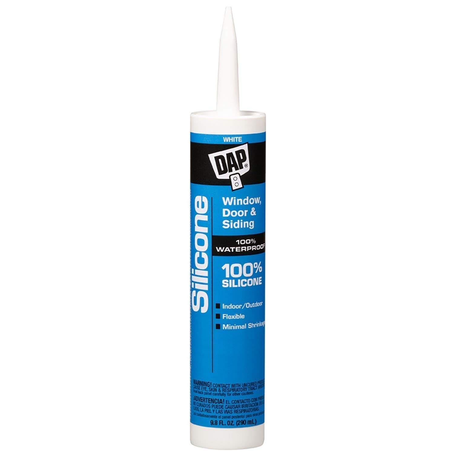 DAP 08646 12 Pack 10.1-Ounce  Window and Door 100% Silicone Rubber Sealant, White