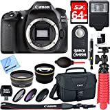 Canon EOS 80D 24.2 MP CMOS Digital SLR Camera (Body) + Accessory Bundle 64GB SDXC Memory + DSLR Photo Bag + Wide Angle Lens + 2x Telephoto Lens + Flash + Remote + Tripod & More