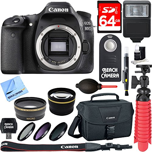 Canon EOS 80D 24.2 MP CMOS Digital SLR Camera (Body) + Accessory Bundle 64GB SDXC Memory + DSLR Photo Bag + Wide Angle Lens + 2x Telephoto Lens + Flash + Remote + Tripod & More by Beach Camera