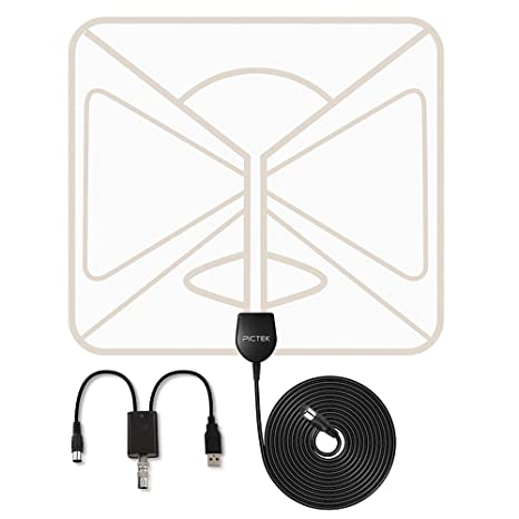 Tv Aerial Pictek Indoor Tv Aerial Super Thin Amplified 50 Miles Range Digital Hdtv Antenna With Detachable Amplifier Signal Booster 10feet Long
