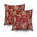 EMMTEEY Home Decor Throw Pillowcase for Sofa Cushion Cover,red and gold paisley print Decorative Square Accent Zippered and Double Sided Printing Pillow Case Covers 18X18Inch,Set of 2