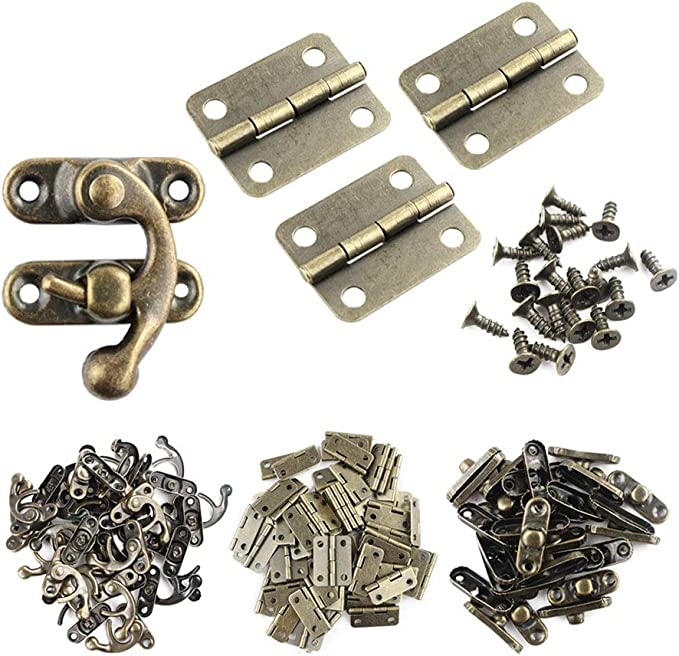 Wobe 60pcs Small Box Hinges and 30 Sets Antique Right Latch Hook Hasp with 360 Pcs Replacement Screws for Wood Jewelry Box Hasp Catch Decoration - Bronze Tone - - Amazon.com
