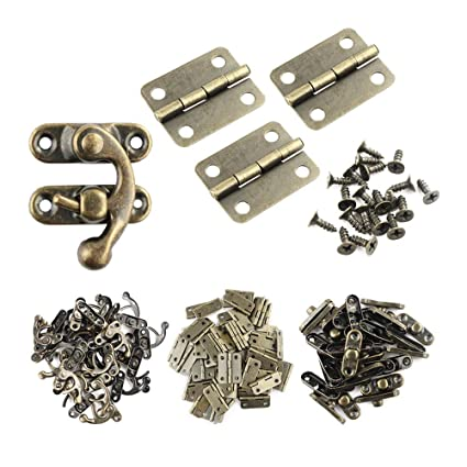 Wobe 60pcs Small Box Hinges and 30 Sets Antique Right Latch Hook Hasp with  360 Pcs Replacement Screws for Wood Jewelry Box Hasp Catch Decoration -