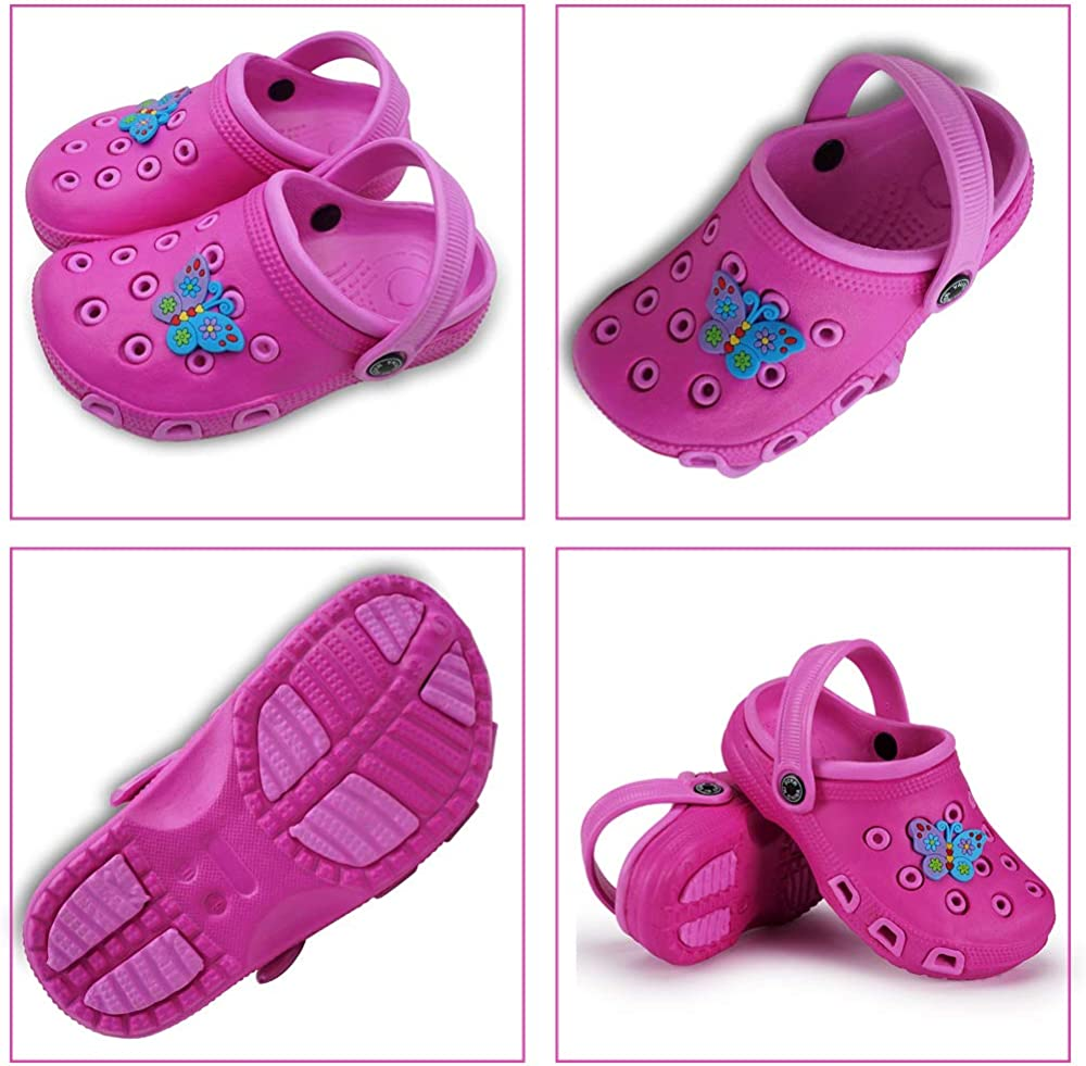 Kids Clogs for Girls and Boys Non-Slip Garden Shoes Slip-on Sandals Beach Pool Shower Slippers Surf Clogs for Children Toddler Pink 12 UK Child for Footlength 185mm