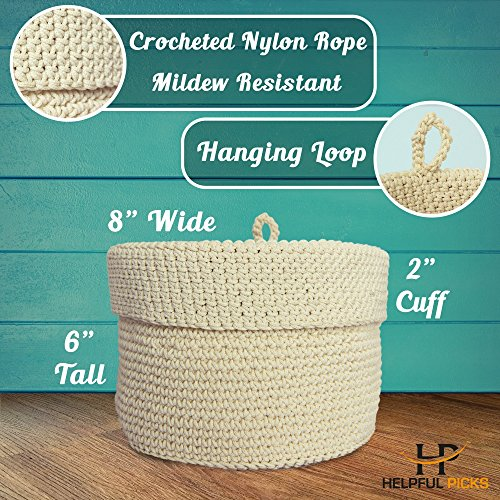 Rope Basket Organizer Combo Set - Eco-Friendly, Natural Color and Tightly Woven - Medium Size 15 x 13 inch Cotton Rope Basket, with Bonus 8 x 6 inch Nylon Rope Basket - Mold Resistant and Decorative by Helpful Picks (Image #5)