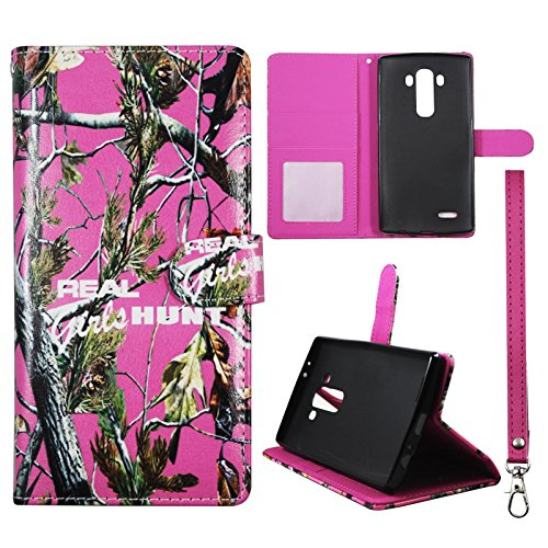 Wallet Camo Pink RGHT For LG G4 H815 Synthetic Leather Wallet Flip ID Pouch Credit Card Holder Phone Snap on Sheild Protector Stand Case Cover (Lg Flip Phone Cases Camo)