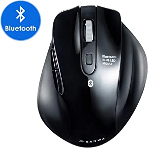 SANWA (Japan Brand) 2.4Ghz Wireless Vertical Ergonomic Mouse, Silent Blue LED Optical Computer Mice, (800/1000/1200/1600 DPI, 6 Buttons) Compatible with MacBook, Laptop, Windows Android Mac OS