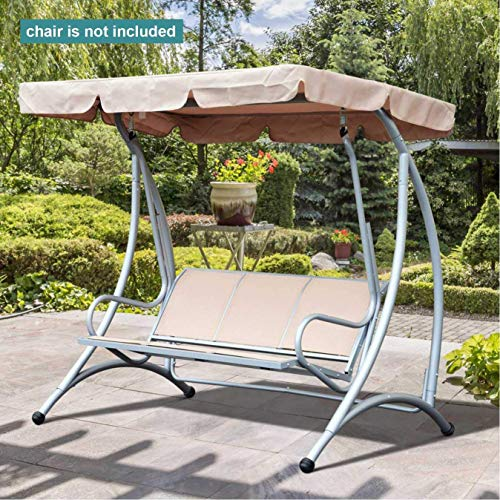 boyspringg Swing Canopy Cover Replacement 75x52 inches 3 Seater 600D Oxford Waterproof Top Cover UV Block Sun Shade for Outdoor Porch Patio Swing Chair Garden Hammock Beige (Seater Swing 3 Patio)