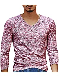 Men's Casual T-Shirt, Fashion Solid V Neck Long Sleeve Top Tee