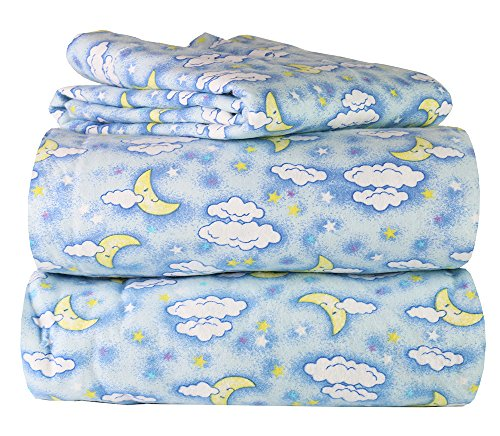 Piece 100% Soft Flannel Cotton Bed Sheet Set – Queen/King Size – Patterned Bedding Covers – 1 Flat Sheet, 1 Fitted Sheet, 2 Pillow Cases - Fade Resistant Designs, (Sweet Dreams, Queen)