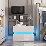 HALLOLURE Nightstand, Modern Design LED Nightstand End Table Tall 2-Drawer High Gloss Shelf Bedside Stand Storage Side Table