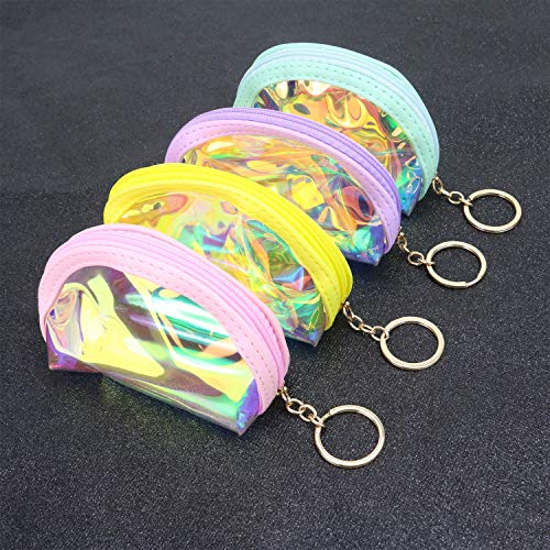 Monrocco 4 Pack Jelly Shells Coin Purse Transparent Coin Purse with Zipper for Women ()