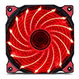 120mm PC Fan PC Case Cooling Fan 150LED Illuminating Super Silent Computer LED Cooler High Airflow CPU Cooling Fan(Red Light)