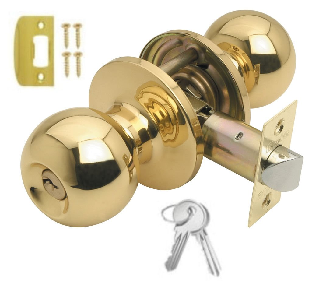 5 x POLISHED BRASS ENTRANCE DOOR KNOB SET WITH 3 KEYS