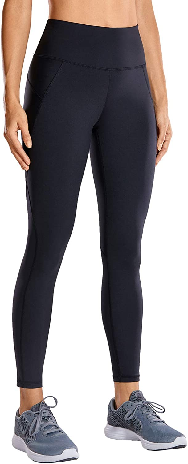 CRZ YOGA Non See-Through Compression Leggings for Women Hugged Feeling 7/8 Workout Leggings Running Tights-25 Inches