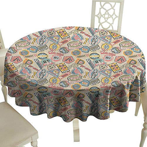 - BarronTextile Grunge Dinner Picnic Table Cloth Racing Teams with Colorful Logos Excitement Grand Prix Driving and Riding Themes Diameter 54