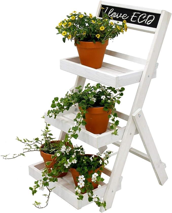 ECD Germany Escalera de Flores con Pizarra Madera Blanco Aprox. 71,5 x 36,5 x 5,5cm Soporte de Plantas 3 Areas de Almacenamiento Resistente a la ...