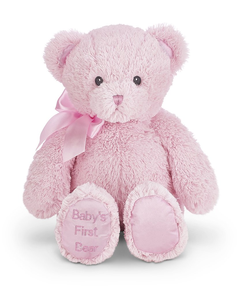 Bearington Baby's First Teddy Bear Pink Plush Stuffed Animal