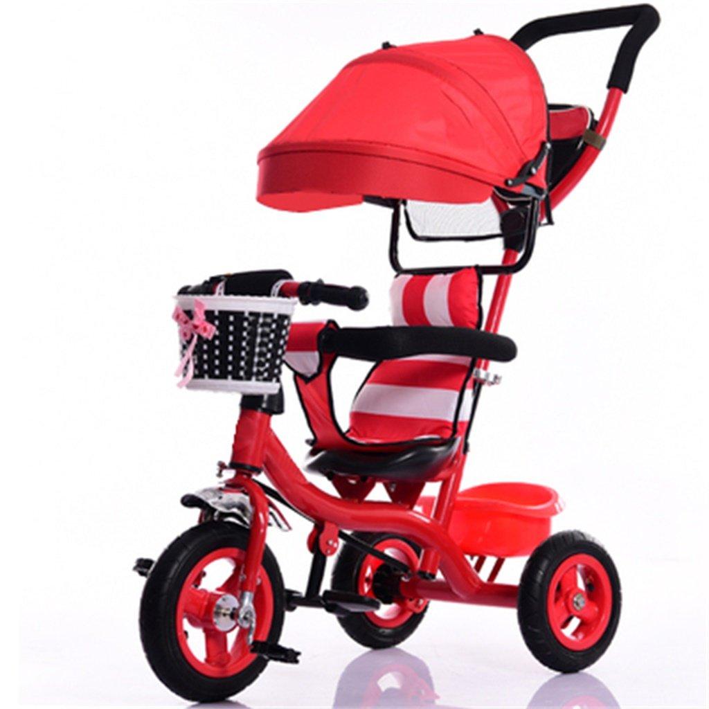 YF-Kid's bikes Niños Pequeño Triciclo Interior/Al Aire Libre/7 Meses-6 Años Carro Antiguo Con Toldos/Titanio Vacío Ruedas Bicicleta (Rojo)
