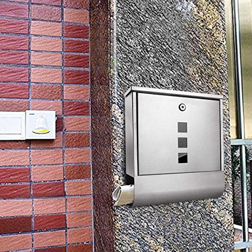Voluker Wall Mounted Mailbox Stainless Steel Mailbox Locking Vertical Mailbox Modern Postbox Silver by Voluker (Image #6)