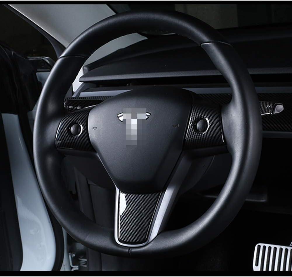 Tocatus Steering Wheel Trim for Tesla Model 3 2017 2018 2019 ABS Carbon Fiber 3PC